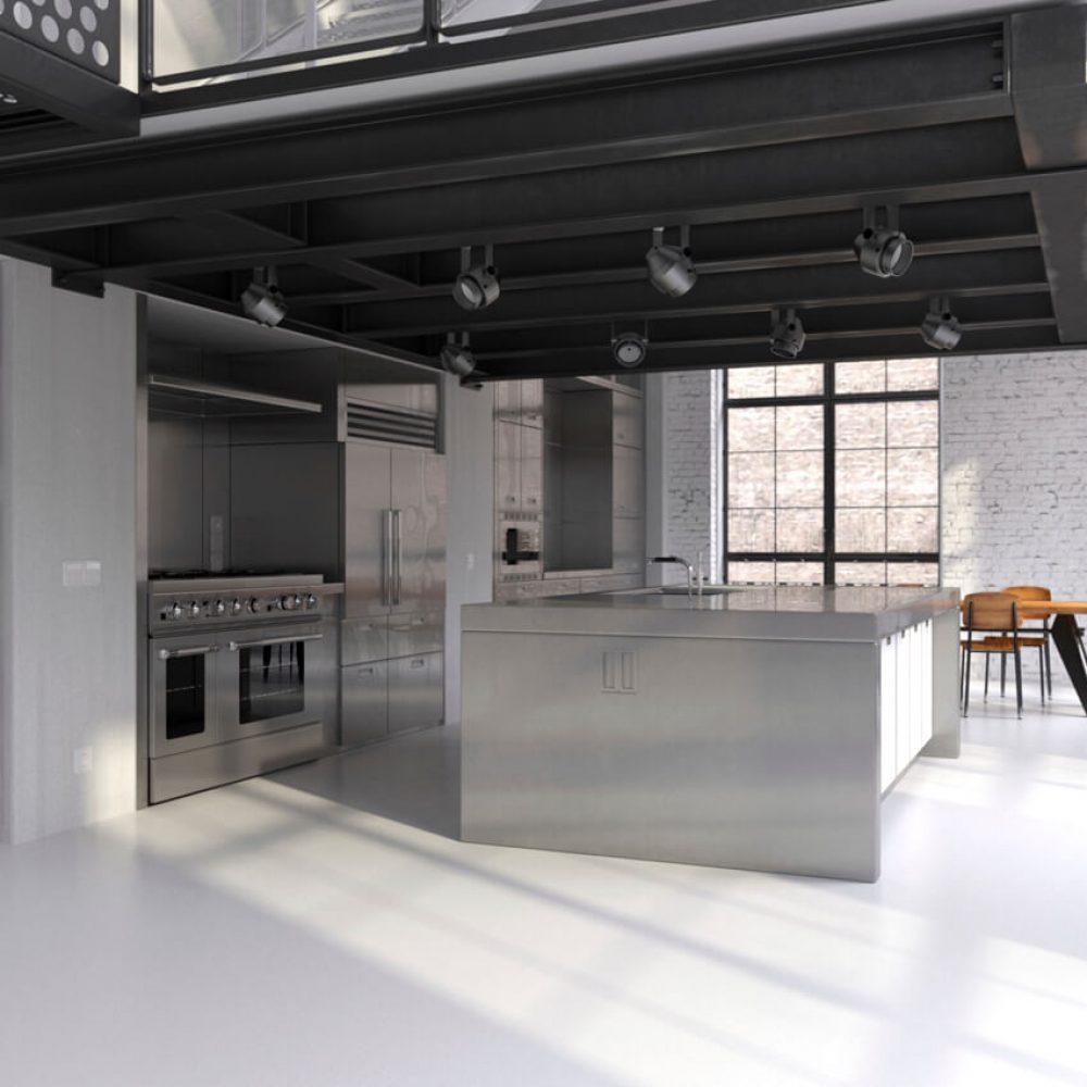 pavimento in microcemento cucina